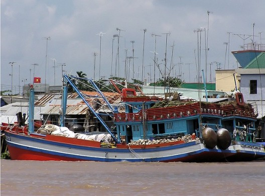 Fishing boats like this are common on the Mekong Delta, a dynamic ecosystem that supports over 50 million people.