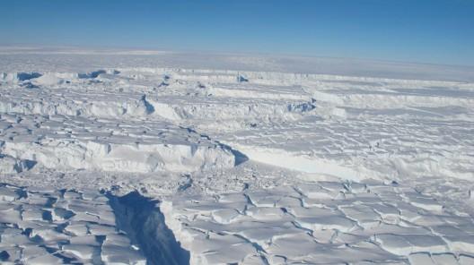 Photo of the Thwaites ice shelf taken during an October 2013 Operation IceBridge aerial survey.