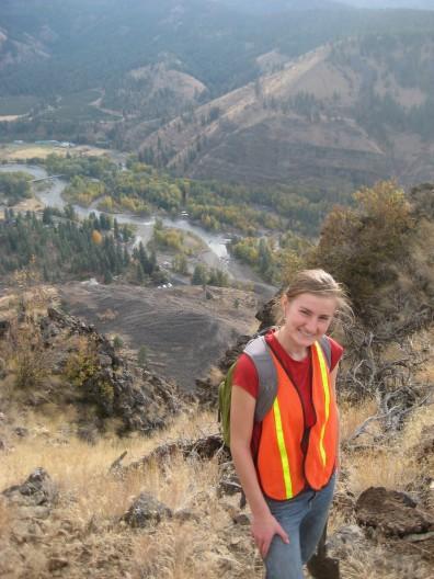 Kate Allstadt in front of the Nile Landslide (photo: Kate Allstadt)