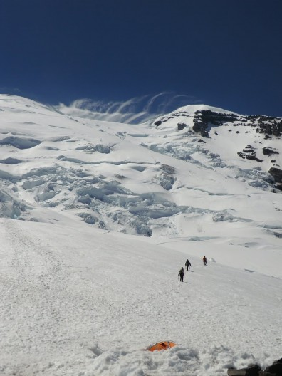 Allstadt and colleagues doing field work on Mt Rainier (photo: courtesy of Kate Allstadt)