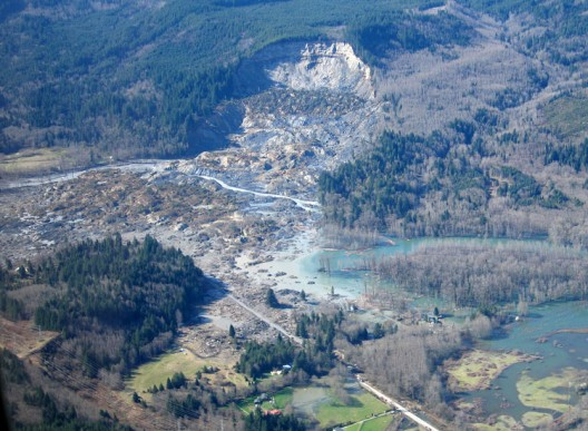 An aerial view of the slide site at Oso, Washington.