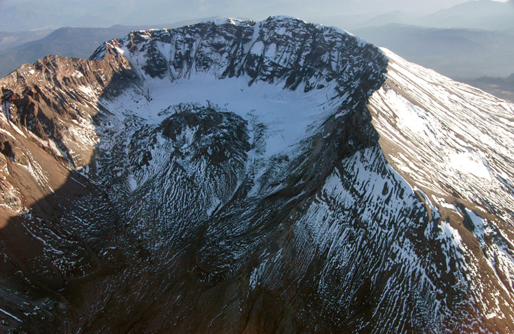 The crater of Mount St. Helens.