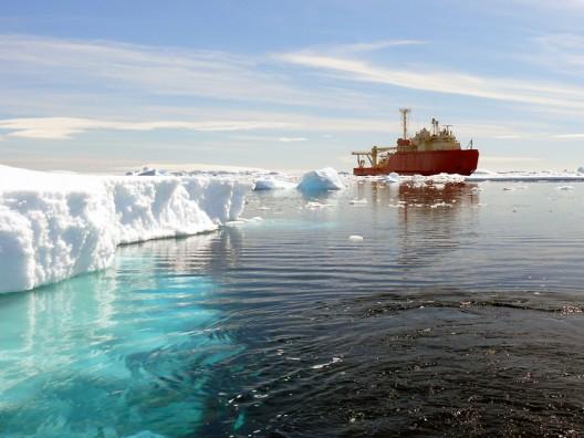 Research vessel in Antarctic waters.