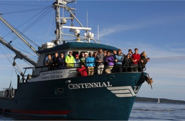College of the Environment students aboard the R/V Centennial in the Salish Sea.
