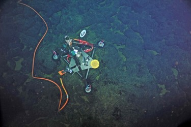 This custom-built precise pressure sensor detects the seafloor's rise and fall as magma, or molten rock, moves in and out of the underlying magma chamber.