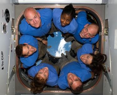 The STS 131 crew, including Metcalf-Lindenburger.