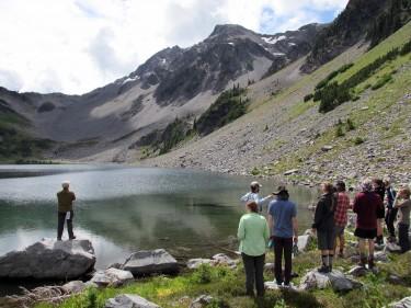 Photo: students and lake