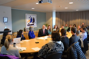 Governor Jay Inslee at the University of Washington to discuss climate with students.