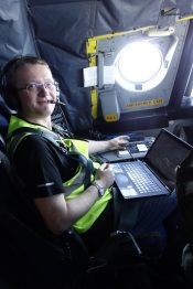 Rob Wood acts as flight scientist on a Sept. 6 flight, coordinating between scientists and crew and deciding where to fly next.