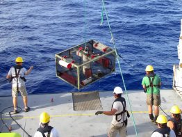 Researchers recover a trap after it landed on the bottom of the Mariana Trench.