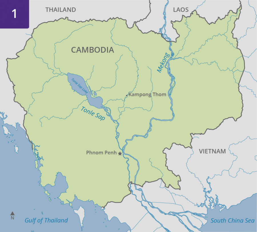 Map of Cambodia showing Tonle Sap and Mekong Rivers