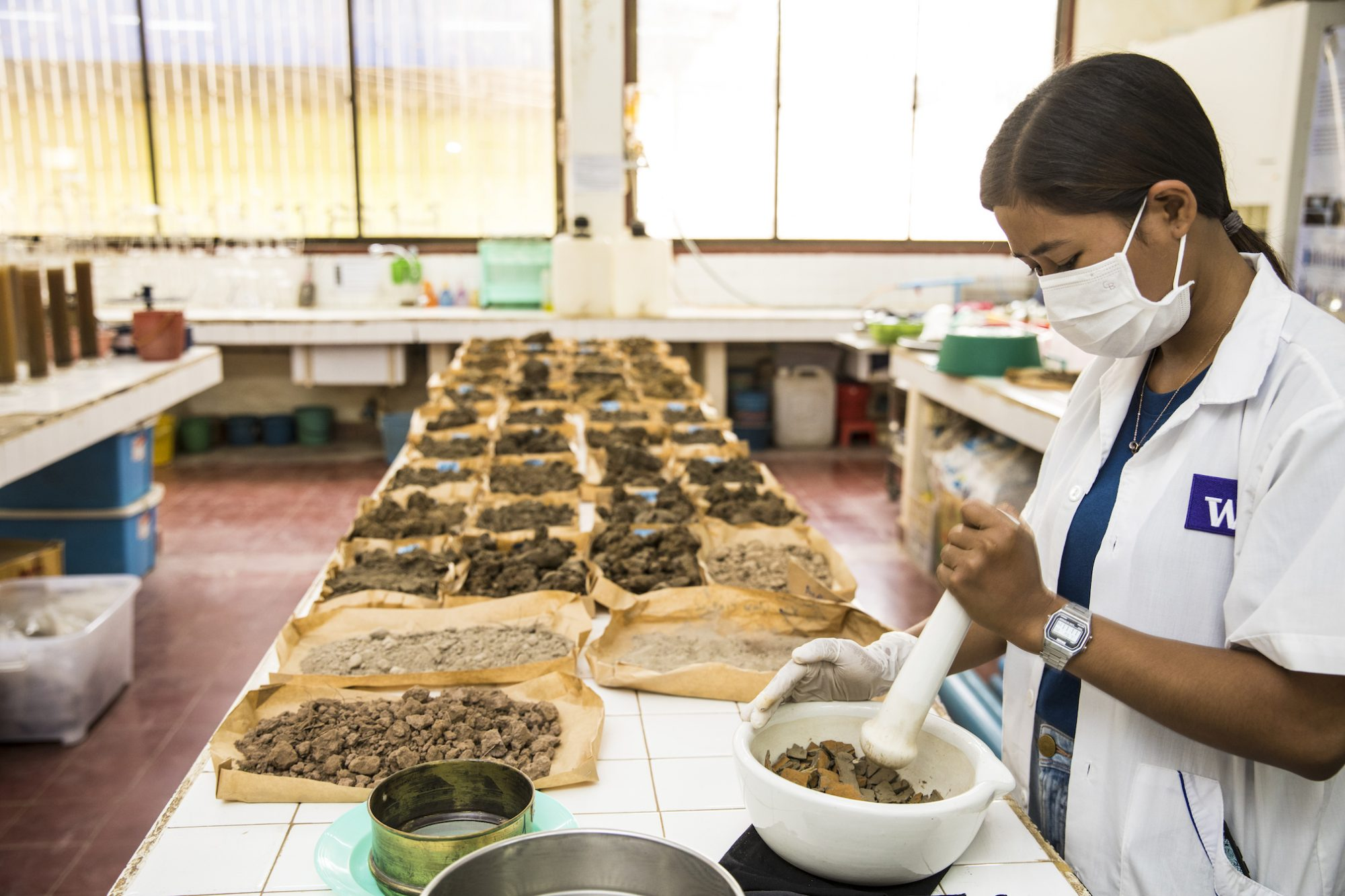 A woman wears a lab coat and mask and breaks up soil in a large mortar and pestle on a long table