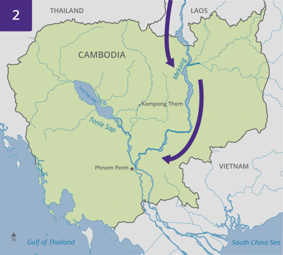 Map showing monsoonal flood on Mekong River