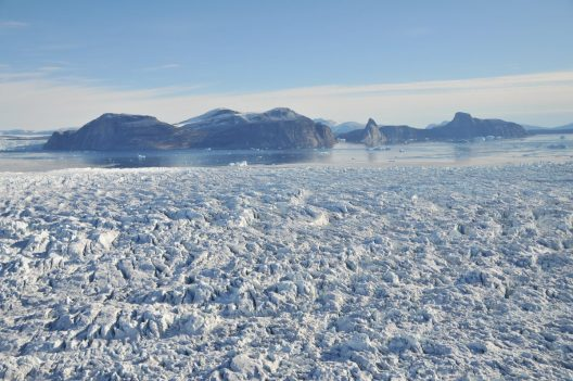 Kristin Laidre's view headed to Northwest Greenland to study narwhals at glacier fronts.