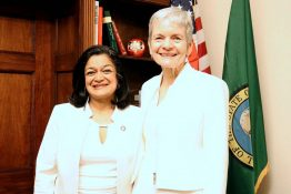 Dean Lisa Graumlich and Representative Pramila Jayapal.