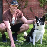 Tim Jones and a dog