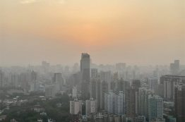 Pollution over Shanghai, China in October 2019.