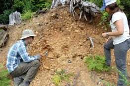 Will Struble and Alison Duvall dig into a landslide deposit near the community of Sitkum, Oregon.