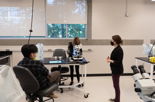 Students participate in a socially-distanced in-person lab.
