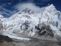 Khumbu Glacier between Mount Everest and Mount Nuptse.