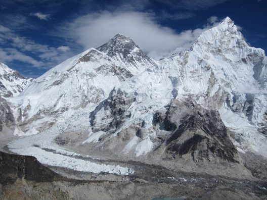 Khumbu Glacier between Mount Everest and Mount Nuptse.