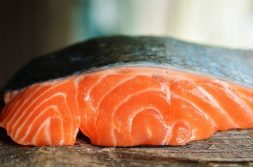 A raw salmon filet