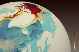 A simulated red dye tracer released from the Beaufort Gyre in the Artic Ocean shows freshwater transport through the Canadian Arctic Archipelago, along Baffin Island to the western Labrador Sea, off the coast of Newfoundland and Labrador, where it reduces surface salinity.