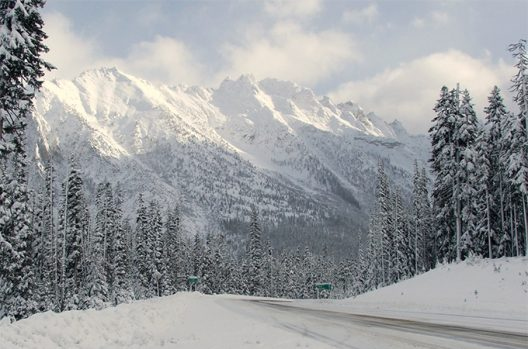 Snowy road with mountain in the North Cascades