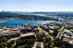 Shot of UW campus and Portage Bay